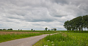 Herfst Posters - Typical Dutch landscape with clouds and a small road Poster by Ruud Morijn