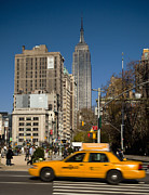 City Scenes Art - Typical Nyc Yellow Taxi, Empire State Building In Background Flatiron District, 5th Ave & Broadway, New York City, Usa by Huw Jones