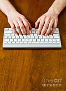 Wireless Technology Posters - Typing On A Wireless Keyboard Poster by Photo Researchers