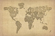 Text Map Digital Art Metal Prints - Typographic Text Map of the World Metal Print by Michael Tompsett