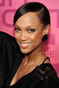 Hair Bun Framed Prints - Tyra Banks At Arrivals For The Cw Framed Print by Everett