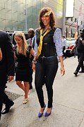 Celebrity Candids - Monday Framed Prints - Tyra Banks, Enters The Good Morning Framed Print by Everett