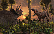 Survival Digital Art Prints - Tyrannosaurus Rex And Triceratops Meet Print by Mark Stevenson