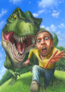 Dinosaurs Painting Prints - Tyrannosaurus Rex jurassic park dinosaur fun fisheye action illustration painting print large Print by Walt Curlee