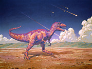 Impact Art - Tyrannosaurus Rex With Meteorites by Joe Tucciarone