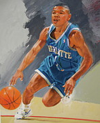 Basketball Abstract Paintings - Tyrone Bogues-muggsy by Cliff Spohn