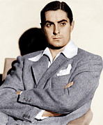 Gray Jacket Prints - Tyrone Power, Ca. 1940s Print by Everett