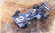 Watercolor Painting Originals - Tyrrell Ford 007 Jody Scheckter 1974 Swedish GP by Yuriy  Shevchuk