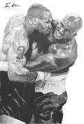 Boxing Drawings - Tyson vs Holyfield by Tamir Barkan