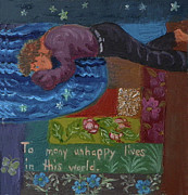 Human Tragedy Posters - U is for the Unfortunate detail from Childhood Quilt painting Poster by Dawn Senior-Trask