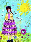 Sun Hat Mixed Media Posters - U R My Sunshine Poster by Diana Cox