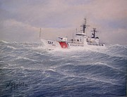 Coast Guard Painting Posters - U. S. Coast Guard Cutter Gallitin Poster by William H RaVell III