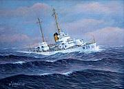 Coast Guard Painting Posters - U. S. Coast Guard Cutter Owasco Poster by William H RaVell III