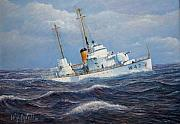 Law Enforcement Paintings - U. S. Coast Guard Cutter Sebago Takes a Roll by William H RaVell III