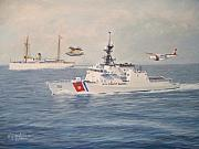 Warship Painting Posters - U. S. Coast Guard Then And Now Poster by William H RaVell III