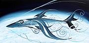 Russia Paintings - U2 SpyFish - Spy Plane as Abstract Fish - by J Vincent Scarpace