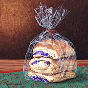 Lynette Cook Paintings - Ube Buns by Lynette Cook