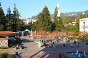 College Campuses Framed Prints - UC Berkeley . Sproul Hall . Sproul Plaza . Sather Gate and Sather Tower Campanile . 7D10016 Framed Print by Wingsdomain Art and Photography