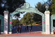College Campuses Framed Prints - UC Berkeley . Sproul Plaza . Sather Gate . 7D10023 Framed Print by Wingsdomain Art and Photography