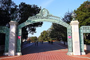 College Campuses Framed Prints - UC Berkeley . Sproul Plaza . Sather Gate . 7D10033 Framed Print by Wingsdomain Art and Photography