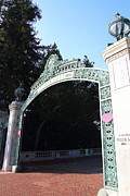 College Campuses Framed Prints - UC Berkeley . Sproul Plaza . Sather Gate . 7D10035 Framed Print by Wingsdomain Art and Photography