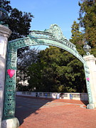 College Campuses Framed Prints - UC Berkeley . Sproul Plaza . Sather Gate . 7D10037 Framed Print by Wingsdomain Art and Photography