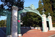 College Campuses Framed Prints - UC Berkeley . Sproul Plaza . Sather Gate . 7D10039 Framed Print by Wingsdomain Art and Photography
