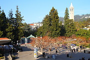 College Campuses Framed Prints - UC Berkeley . Sproul Plaza . Sather Gate and Sather Tower Campanile . 7D10000 Framed Print by Wingsdomain Art and Photography
