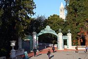 College Campuses Framed Prints - UC Berkeley . Sproul Plaza . Sather Gate and Sather Tower Campanile . 7D10025 Framed Print by Wingsdomain Art and Photography