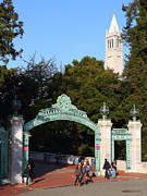 College Campuses Framed Prints - UC Berkeley . Sproul Plaza . Sather Gate and Sather Tower Campanile . 7D10027 Framed Print by Wingsdomain Art and Photography