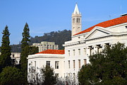 College Campuses Framed Prints - UC Berkeley . Sproul Plaza . Sproul Hall .  Sather Tower Campanile . 7D10008 Framed Print by Wingsdomain Art and Photography