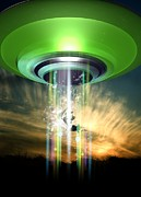 Terrestrial Prints - Ufo Cattle Abduction, Conceptual Artwork Print by Victor Habbick Visions