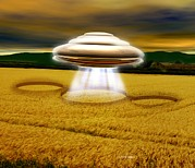 Ufology Framed Prints - Ufo Making A Crop Circle Framed Print by Victor Habbick Visions