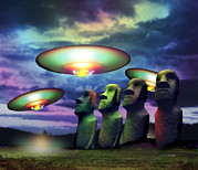 Moai Framed Prints - Ufos Over Statues Framed Print by Victor Habbick Visions