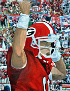 Football Mixed Media - UGA Celebrates by Michael Lee