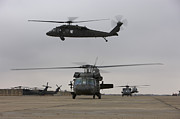 Tikrit Art - Uh-60 Black Hawks Taxis by Terry Moore