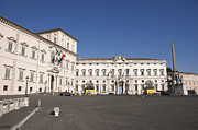 Building Art Photos - uirinal Obelisk in front of Palazzo del Quirinale. Rome by Bernard Jaubert