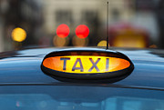Y120907 Art - Uk, England, London, Sign On Taxi Cab by Tetra Images
