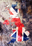 Great Digital Art Prints - UK Flag Map Print by Michael Tompsett