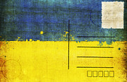 Postcard Art - Ukraine flag postcard by Setsiri Silapasuwanchai