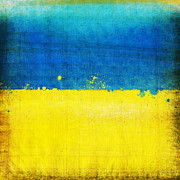 Old Map Digital Art Prints - Ukraine flag Print by Setsiri Silapasuwanchai