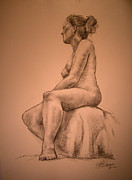 Seated Nude Drawing Prints - Ulrika after Maillot Print by Gill Kaye