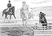 Dressage Drawings - Ultimate Challenge - Eventing Horse Print by Kelli Swan