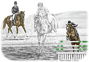 Flying Drawings Framed Prints - Ultimate Challenge - Horse Eventing Print color tinted Framed Print by Kelli Swan