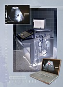 Laptop Posters - Ultrasound Scanner And Scans, Artwork Poster by Miriam Maslo
