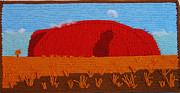 Rock Tapestries - Textiles Posters - Uluru at sunset Northern Territory Poster by Patricia Tapping