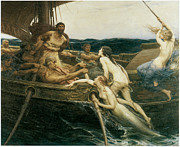 Victorian Era Prints - Ulysses and the Sirens Print by Herbert Draper