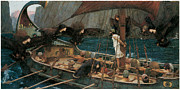 Waterhouse Painting Prints - Ulysses and the Sirens Print by John William Waterhouse