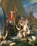 Mythology Paintings - Ulysses and the Sirens by Leon Auguste Adolphe Belly