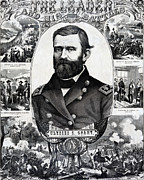 General Ulysses Grant Framed Prints - Ulysses S Grant and his battles Framed Print by International  Images